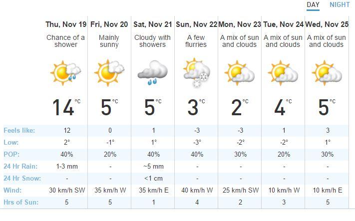多伦多周五开始降温 周末降至零下并或有飘雪