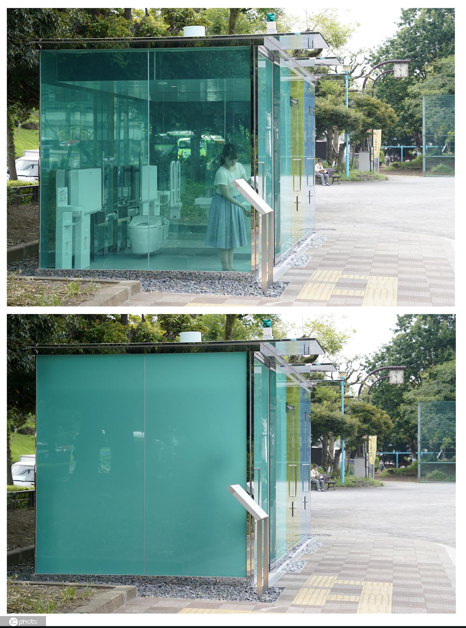 日本现透明公厕你敢上吗?锁门变雾面保持
