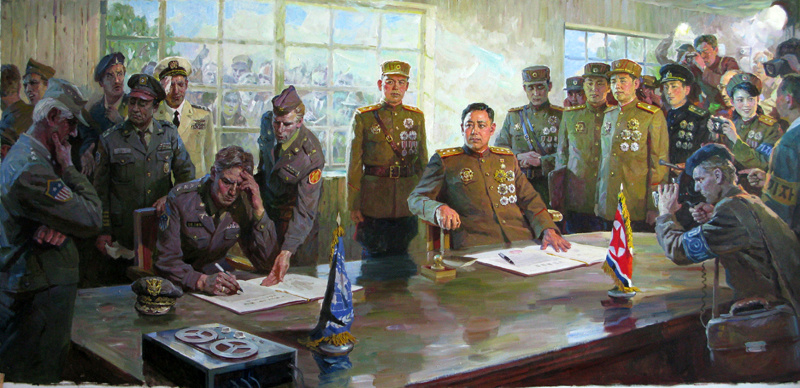 朝鲜宣传画中的历史:签停战协定时没一个中国人(组图)