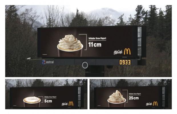 麦当劳创意户外广告牌:奶油雪顶与惠斯勒的关系