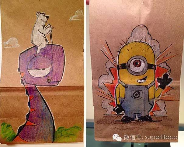 16.爸爸坚持两年多为儿子的午餐袋画可爱的卡通画