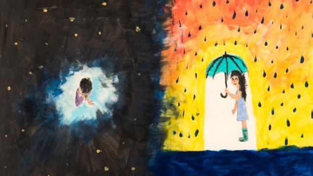 土著人儿童用绘画来表达自己内心的痛苦