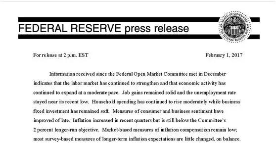 美联储决定维持联邦基金利率在0.5%~0.75%不变