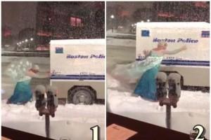 冰雪奇缘!美东警车卡雪堆里 艾莎公主来
