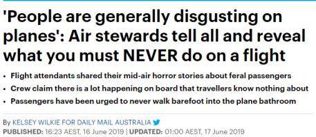 澳洲空乘曝光骇人黑幕!千万不要光脚踩在飞机地毯上