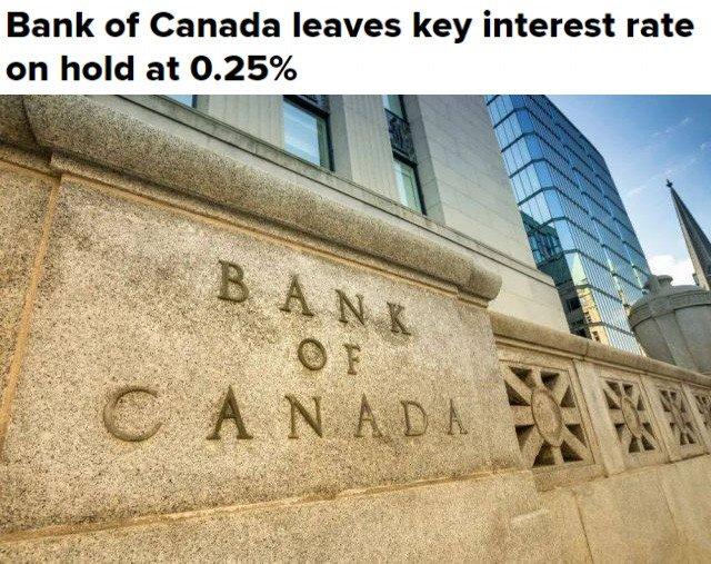 官宣! 加拿大维持超低利率不变贷款利率5年1.1% 今年房价将更难负担!