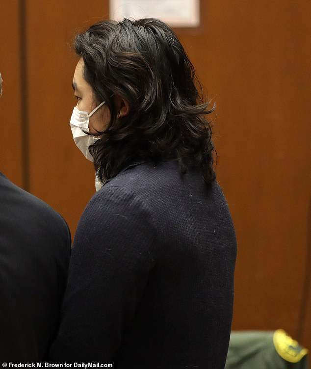 Ka Leung Chan wore a mask as he kept his eyes low at the Los Angeles Superior Court Tuesday as he attended the arraignment for vehicular manslaughter. He stared straight ahead